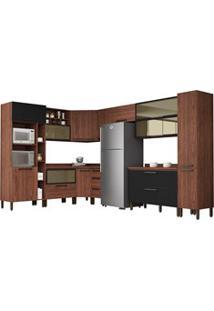Cozinha Modulada Completa 15 Peças Viv Concept C12 Black/Nogueira - Ki