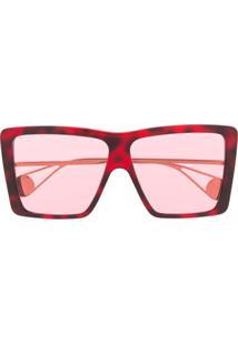 5c2fc58667e Farfetch. Gucci Eyewear Óculos De Sol Oversized - Vermelho