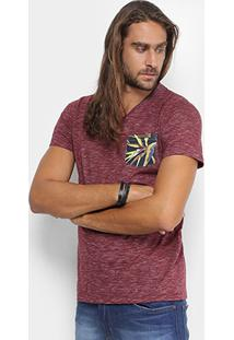ad3b25d67 ... Camiseta Colcci Gola V Mescla Bolso Floral Masculina - Masculino-Bordô