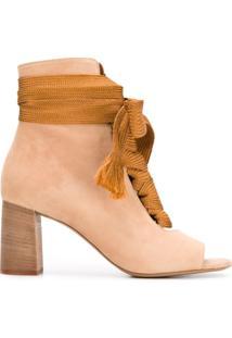 Chloé Ankle Boot De Couro E Camurça - Nude & Neutrals