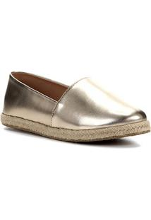 Sapatilha Shoestock Flat Corda Metalizado - Feminino-Dourado