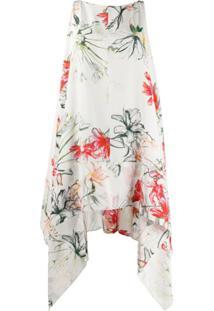 Alexander Mcqueen Vestido De Seda Com Estampa Tropical - Branco
