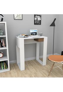 Escrivaninha Com 1 Gaveta Smart Bliv - Branco E Castanho