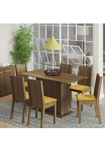 Conjunto De Mesa Com 6 Cadeiras Celeny Rustic E Tecido Palha