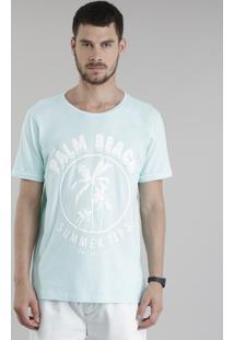 """Camiseta """"Palm Beach"""" Verde Água"""