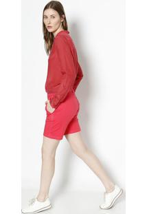 Blusa Geomã©Trica Com Seda- Vermelha & Coral- Lacostelacoste