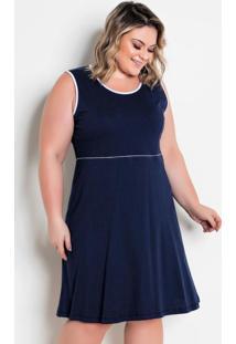 Vestido Bicolor Plus Size Marinho