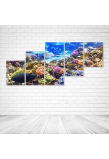 Quadro Decorativo - Underwater World Corals Fish Animals - Composto De 5 Quadros - Multicolorido - Dafiti
