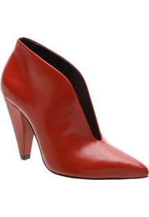 Schutz Ankle Boot Em Couro Vermelha Salto: 9,8Cm