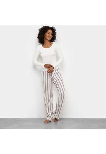 Pijama Longo Hering Intimates Feminino - Feminino-Off White