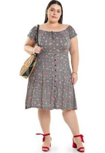 c97ff3850 ... Vestido Em Xadrez Vichy Preto Miss Masy Plus