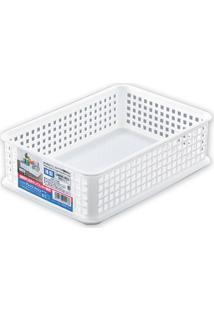 Cesta Organizadora Plástica Branca 24X16Cm - 10060