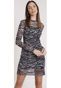 Vestido Feminino Bbb Em Tule Com Estampa Animal Print De Zebra Manga Longa Gola Alta Preto