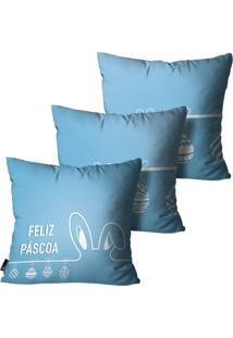 Kit Com 3 Capas Para Almofadas Mdecore De Páscoa Azul 45X45Cm Azul