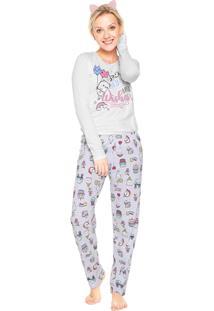 Pijama Malwee Liberta Dreams Branco/Cinza