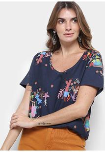 Camiseta T-Shirt Cantão Estampa Local Mulheres - Feminino-Azul Escuro