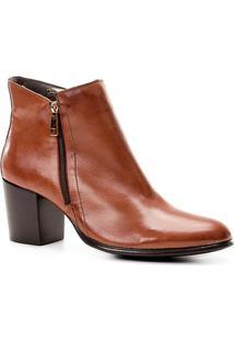 c0352f0759 ... Bota Couro Cano Curto Shoestock Zíper Feminina - Feminino-Caramelo
