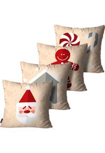 Kit 4 Capas Para Almofadas Mdecore Natal Papai Noel Bege 45X45Cm