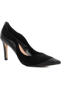 Scarpin Couro Shoestock Salto Alto Curves - Feminino-Preto