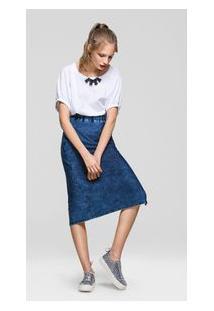 Saia Midi Canaleta Lateral Jeans