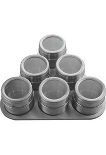 Porta Condimentos Mimo Style Com 6 Peças – Inox/Transparente