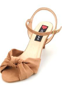 Sandália Salto Baixo Love Shoes Slim Nó Entrelaçado Caramelo