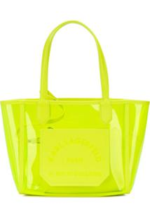 Karl Lagerfeld Bolsa Tote K/Journey Transparente Pequena - Amarelo
