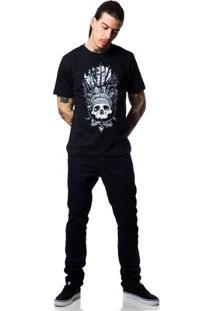 Camiseta Zero Indian Skull Masculina - Masculino-Preto