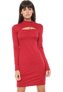 Vestido Triton Curto Recorte Vermelho