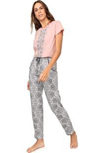 Pijama Pzama Estampado Branca/Rosa
