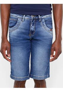 Bermuda Jeans Zune Indigo Stone Masculina - Masculino