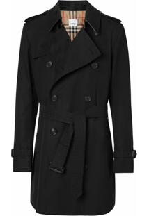 Burberry Trench Coat De Gabardine - Preto