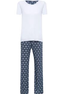 Pijama Feminino Marie - Azul E Branco