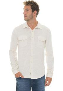 Camisa Timberland Tbl Linen Cotton Cargo Masculina - Masculino-Branco