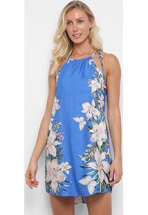 Vestido Curto Farm Recanto Floral Amarração - Feminino-Azul