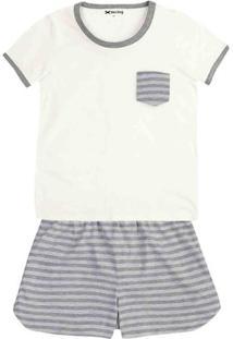 Pijama Feminino Em Malha De Algodão Com Bolso E Estampa