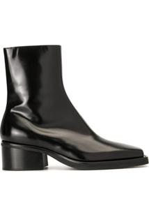 Y/Project Ankle Boot Com Bico Metálico - Preto