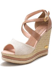 Sandã¡Lia Sb Shoes Anabela Ref.3205 Juta/Ocre - Bege/Marrom - Feminino - Tãªxtil - Dafiti