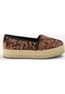 Alpargata Com Paetãªs- Cobre & Bege- Salto: 3Cminbox Shoes