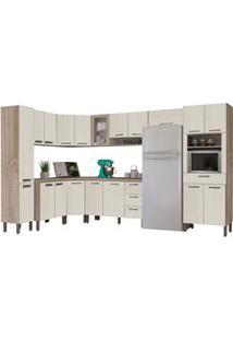 Cozinha Modulada Ametista 11 Módulos Composição 1 Nogal /Arena - Kit'S