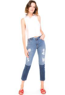 Calça Jeans Slim Destroyed