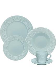 Aparelho De Jantar Oxford Serena Essence Cerâmica 30 Peças Azul