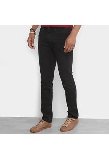 Calça Slim Calvin Klein Color Sarja Masculina - Masculino-Preto