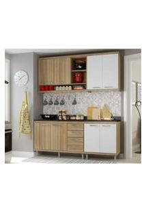Cozinha Compacta Completa Multimóveis Com 4 Peças Sicília 5819 Argila/Branco
