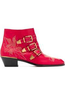 Chloé Ankle Boot Susanna - Vermelho