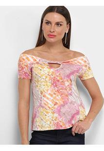 Blusa Aura Estampada Ombro A Ombro Torção Feminina - Feminino-Rosa