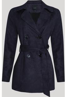 Casaco Trench Coat Suede Feminino Transpassado Com Faixa Para Amarrar Preto
