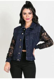 Jaqueta Jeans Escura Sawary Com Renda