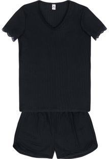 Pijama Feminino Em Malha Especial E Modelagem Super Confortável