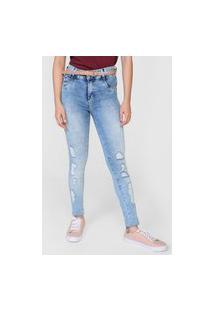 Calça Jeans Sawary Skinny Estonada Levanta Bumbum Azul